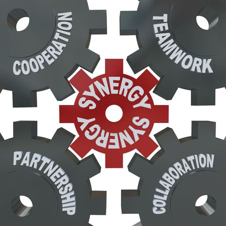 synergies: Several cogwheel gears turning together, reading Synergy, Teamwork, Partnership, Collaboration and Cooperation