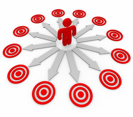 choose person: A person must choose between several opportunities, symbolized by several arrows and targets Stock Photo