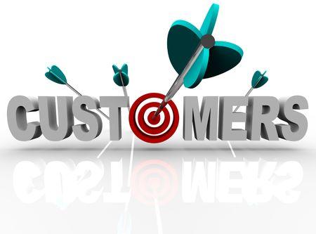 consommateurs: Le mot clients avec une cible � la place de la lettre O et une fl�che rendant coup direct  Banque d'images