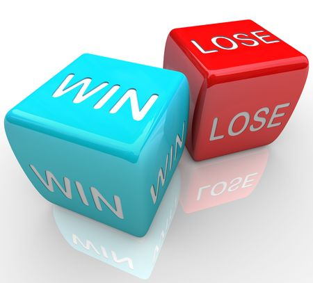 lose: A pair of dice with the words win and lose