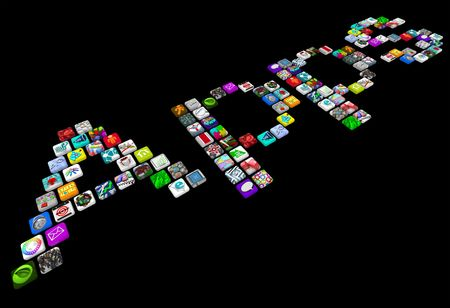 mobile app: Many smart phone app icons spell out the word Apps Stock Photo