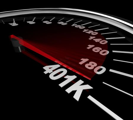 secure growth: The needle on a speedometer points to the number 401K Stock Photo