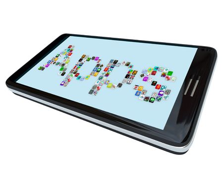 mobile app: The word Apps spelled in app tile icons on a  modern black smart phone