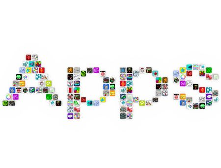 The word Apps spelled out in app icons on a white background Stock Photo - 7805510