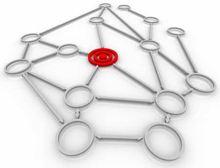 linked: A target bulls-eye in a connected network of linked circles Stock Photo