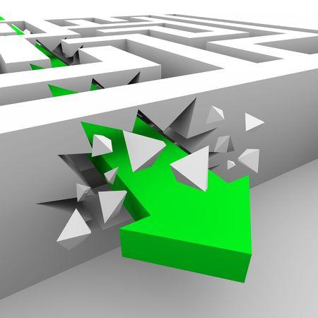 overcoming: Una flecha verde se bloquea a través de las paredes de un laberinto para llegar a un destino