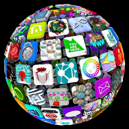 mobile app: Many application tiles in a spherical pattern, representing a world of available apps Stock Photo