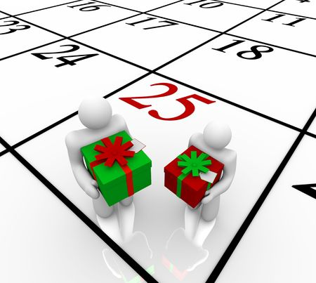 exchanging: Two people stand on a calendar marked for Christmas, December 25, and exchange holiday presents