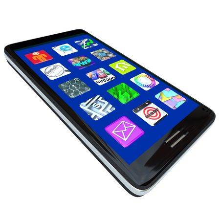 smartphone apps: Several Apps on the screen of a modern black smart phone Stock Photo