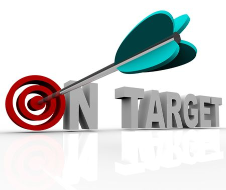 advertise: An arrow hits a bullseye in the words On Target