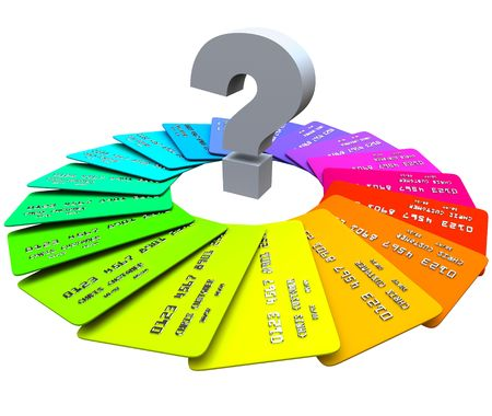 financial questions: A question mark sits in the middle of a spiral pattern of colorful credit cards