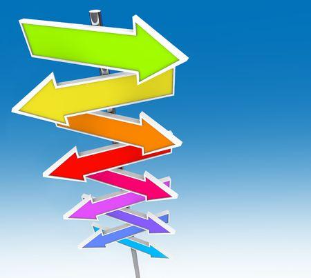 deciding: Many colorful arrow signs against a clear blue sky