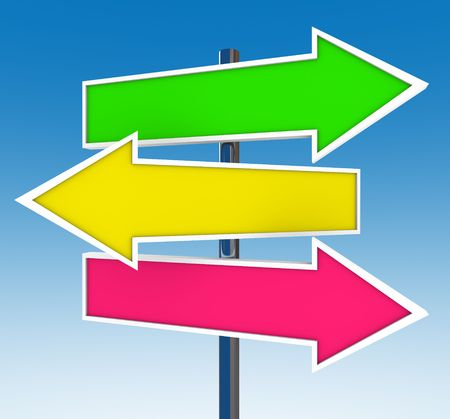 comparison: Three arrow signs against a clear blue sky representing multiple opportunities
