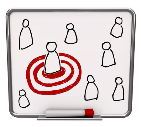 dry erase: A white dry erase board with red marker, with a drawing of several people and one targeted in a red bullseye Stock Photo