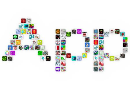 The word Apps spelled out in app icons on a white background Stock Photo - 7963457