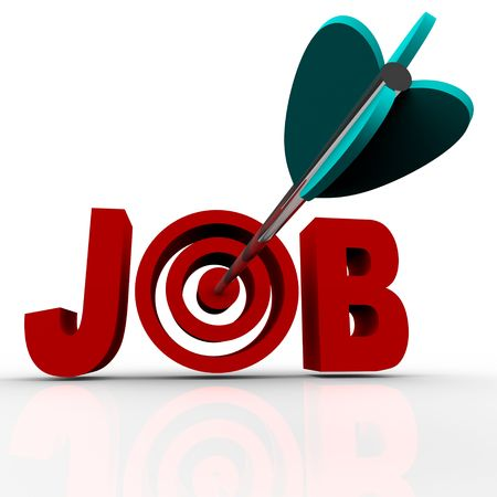 employ: An arrow makes a direct hit in the word Job Stock Photo