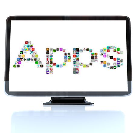 A HDTV television with the word Apps made of application tile icons photo