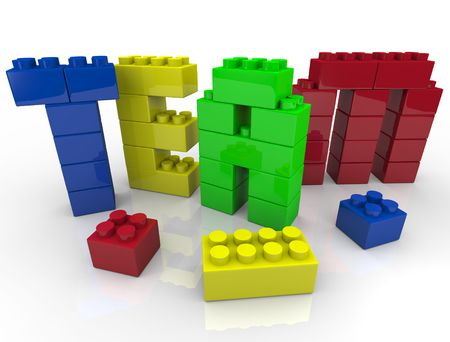 Team building - putting letters together with toy blocks photo