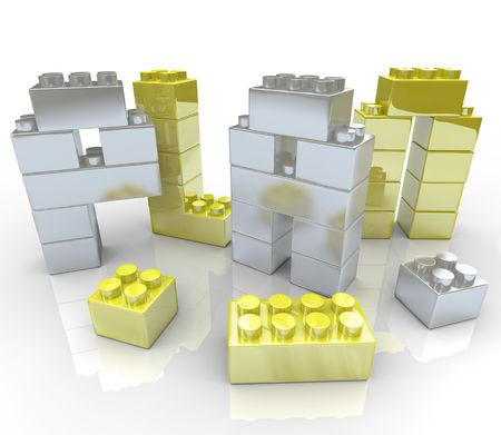 building construction: The word Plan made of toy blocks, symbolizing the creation of a new strategy Stock Photo