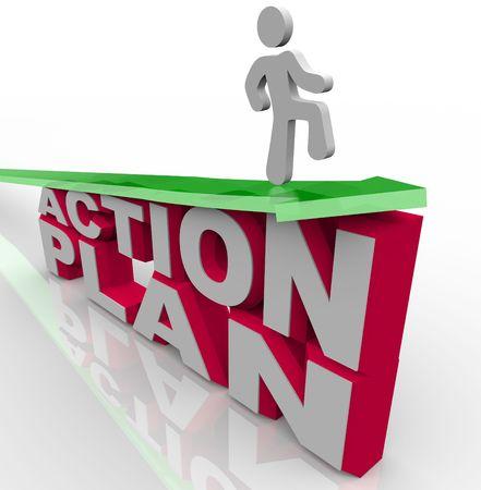 plan van aanpak: Een man rijdt een pijl groei symboliseert, blijven dobberen op het succes van een actieplan