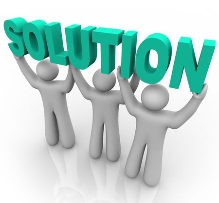 synergies: Three people join forces to lift the word Solution Stock Photo