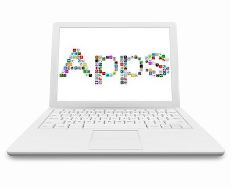 The word Apps made up of software icons on the screen of a white laptop computer Stock Photo - 8052489