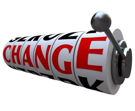 evoluer: Les lignes de changement de mot pour un jackpot sur roues de machine � sous  Banque d'images