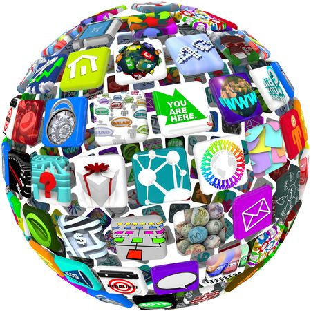 Many smart phone application icons arranged in a spherical shape Imagens