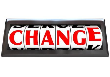 Het woord wijzigen in rode letters op een teller van een voer tuig