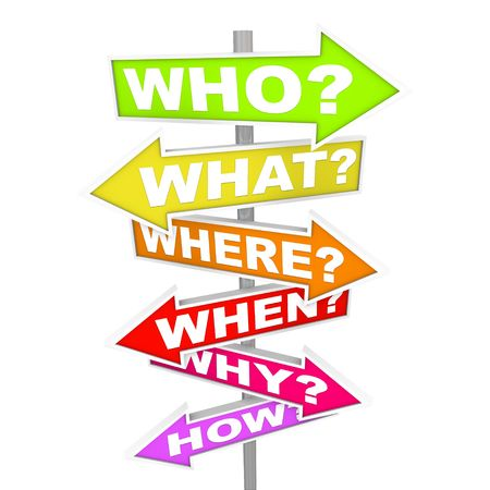 what: Several colorful arrow street signs with the common questions - who, what, where, when, why, how