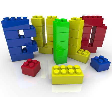 The word Build made up of toy building construction blocks Stock Photo - 8120114
