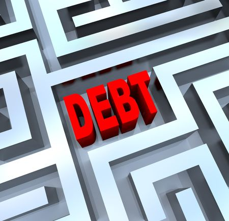 A maze containing the word Debt, symbolizing the difficulty of modern finances and budgets Stock Photo - 8120115