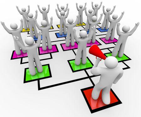 A leader with a bullhorn rallies his team on an organizational chart photo