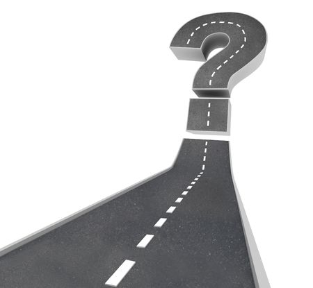 perplexing: Una carretera que conduce a un signo de interrogaci�n que simboliza la incertidumbre y la duda  Foto de archivo