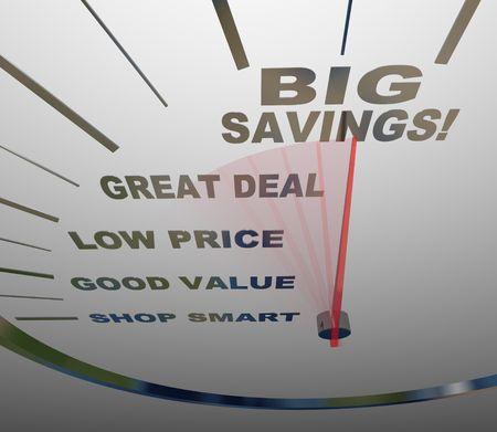 low price: Un tachimetro con aghi, andando oltre le parole Shop Smart, Good Value, basso prezzo, Great Deal e grande risparmio Archivio Fotografico