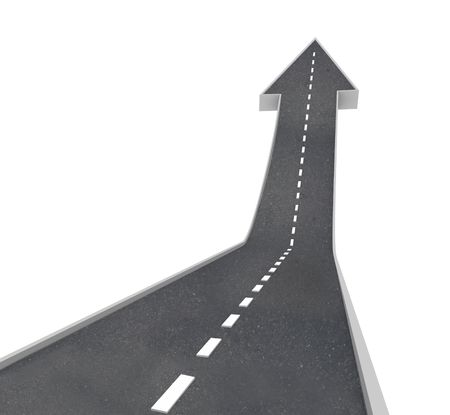 A road turning into an arrow rising upward symbolizing growth and improvement
