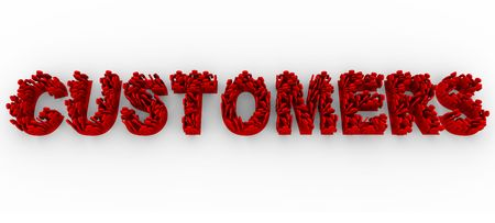 patronage: Many illustrated red people stand in formation on letters to make the word Customers Stock Photo