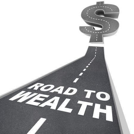 The words Road to Wealth in white letters on a street leading to a dollar sign photo