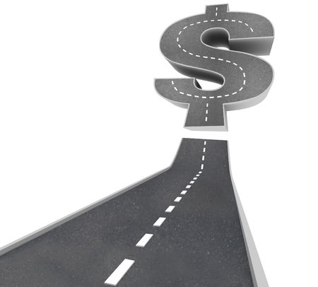 The Road to Riches -  a black pavement road leading to a dollar sign