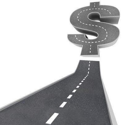 재물의 길 - 달러 기호로 이어지는 검은 포장 도로