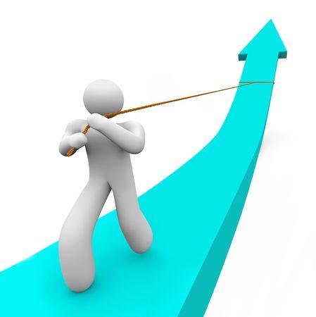 perseverar: Una sola persona funciona solo a Tire hacia arriba de una flecha de crecimiento  Foto de archivo