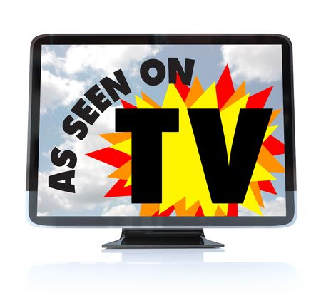 as: A HDTV television with the words As Seen on TV on the screen Stock Photo