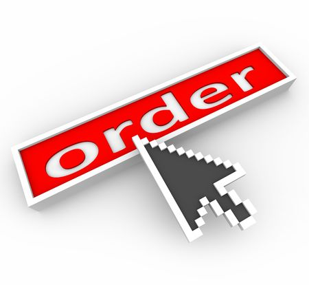 order online: A digital arrow hovers over a red button marked Order and is about to press it