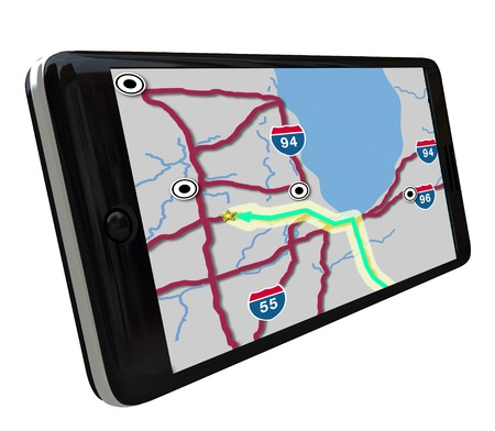 A navigation map on a smart phone GPS app screen photo
