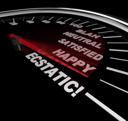 extase: De stadia van geluk van blah aan ecstasy afgebeeld op een snelheidsmeter met rode naald versnelling langs elk woord  Stockfoto