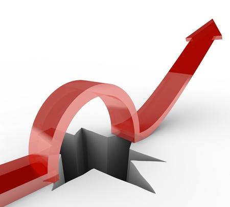 perseverar: Una flecha salta sobre un agujero para alcanzar nuevas alturas