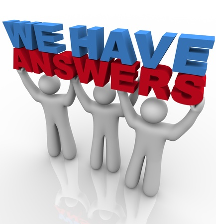 synergies: A team of people lifting the words We Have Answers