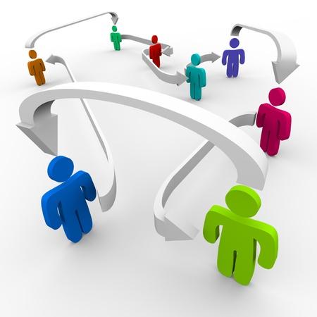 Verschillende mensen in een net werk verbonden door middel van pijlen