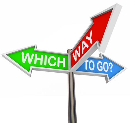 and in direction: Three colorful arrow signs reading Which Way to Go? Stock Photo
