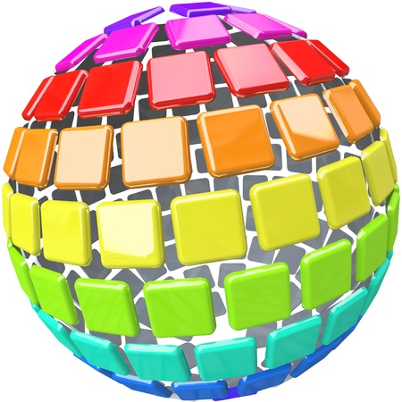A globe made of colorful swatch tiles symbolizing diversity Stock Photo - 8287249